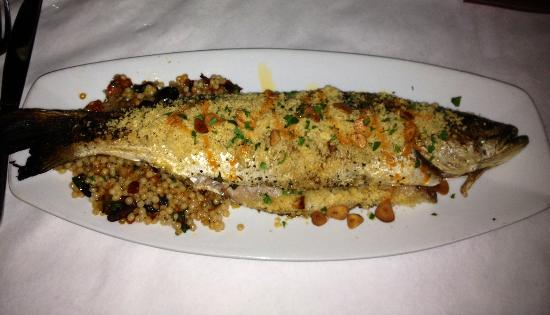 Dante's Kitchen: Whole fish (trout on Israeli couscous... Fabulous!)