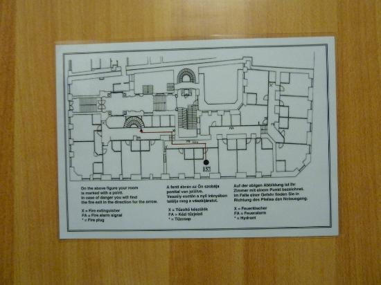 City Hotel Matyas: View of fire escape plan...only 1 way out. Hope the fire is not between you and the exit!