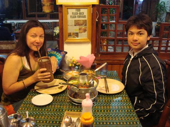 Damien and Mum enjoying dinner