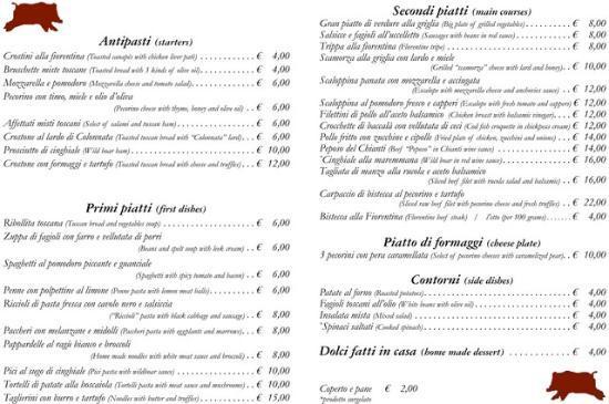 La Maremma: il menu