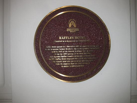 Raffles Hotel Singapore: ホテルプレート