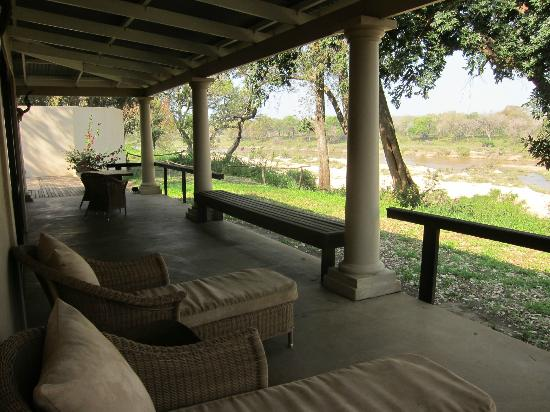 Rattray's on MalaMala: Front porch of khaya overlooking river