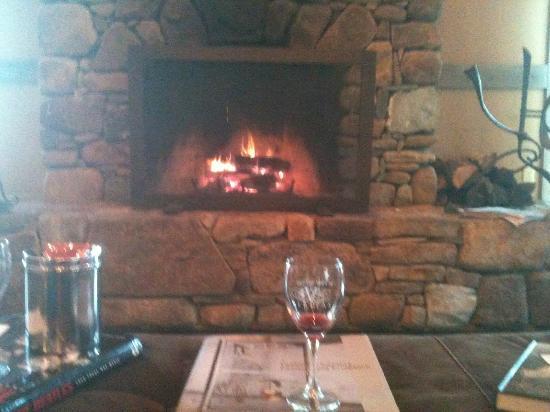 Veritas Vineyard & Winery: Fireplace at Veritas