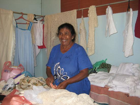 Visit Weligama: Leela Lace Factory - Madam Leela herself showing her lace work.
