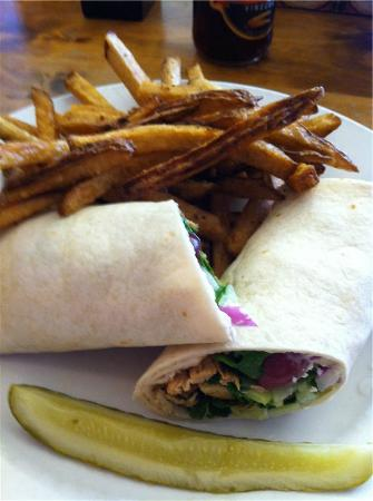 Captain Benders Tavern : Greek Chicken Wrap with fries and a pickle