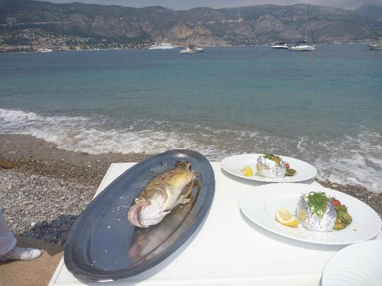 Plage Restaurant Paloma Beach : sea bass before service