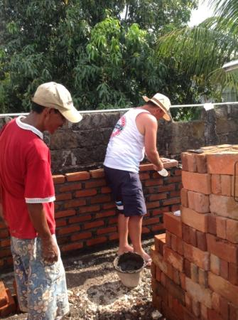 The Breezes Bali Resort & Spa: bricklaying with the locals!