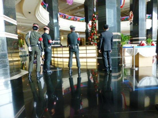 Swissotel Le Concorde Bangkok: Thai army turned the lobby into a high security area where guests have no place