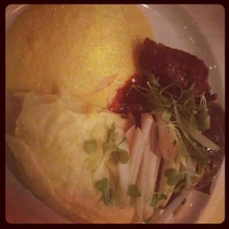 Baraset Barn: pigs cheeks, sweetcorn puree and creamy mash.