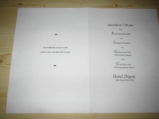 Hotel Digon: A different menu every night