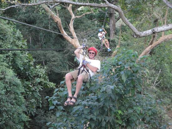 The Congo Trail Canopy Tour : Me on Zip Line...The Guides are Great!