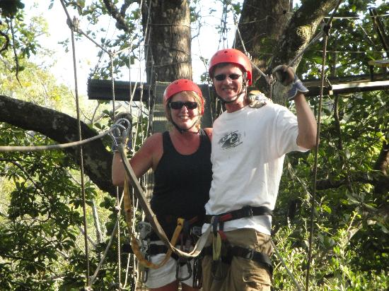 The Congo Trail Canopy Tour : On a bridge to a Zip Line