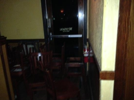 Bonefish Grill: chairs blocking the fire exit!