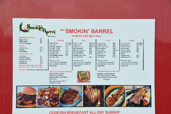 Smokin' Barrel: menu