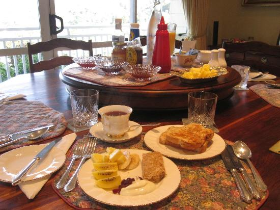 Bellrock Lodge: continental breakfast includes breads, unique jams, cut fruits, muesli, teas, orange juice, coff