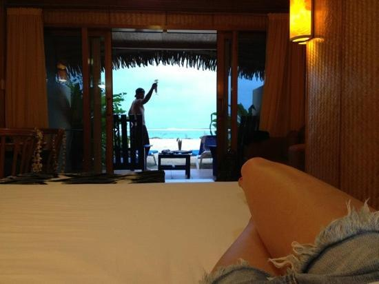 Sanctuary Rarotonga-on the beach: view from the bed looking out