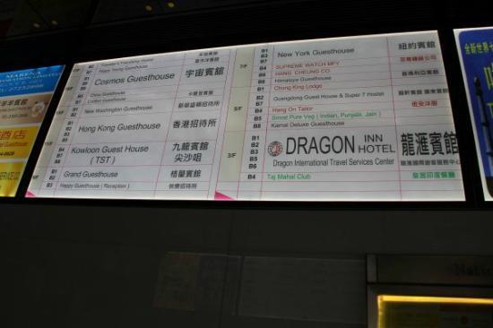 Dragon Inn: 重慶大廈グランドフロアのエレベータ前にある表示板