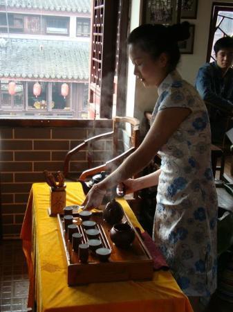 Shanghai, China: Tea pouring demonstration