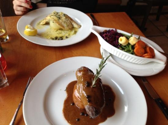 Beresford's Restaurant & Pub: mains!! venison special, Sea bass, veg