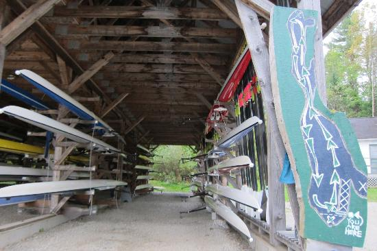 Craftsbury Sports Center: covered boat storage and map
