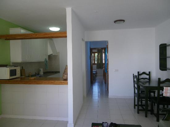 Flamingo Apartamentos : Kitchen and Hallway