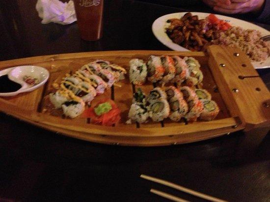 Tokyo Express: Sushi Boat, and hibachi Steak and shrimp