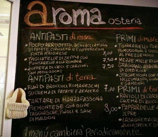 Aroma Restaurant Menu Rome