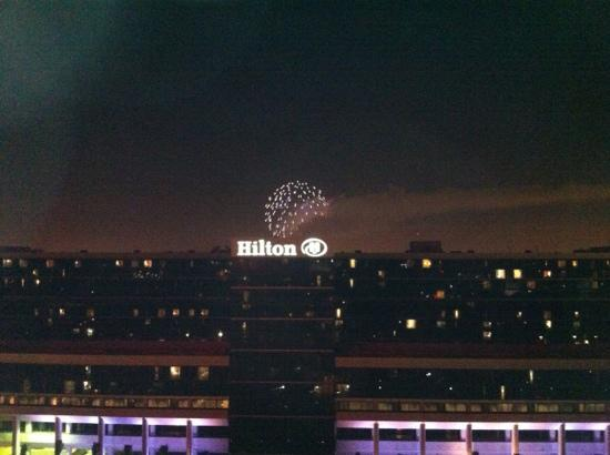 Anaheim Marriott: picture from the balcony of Disney fireworks