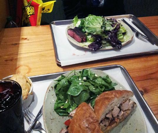 Tender Greens: Chicken Sandwich & Steak + Salads