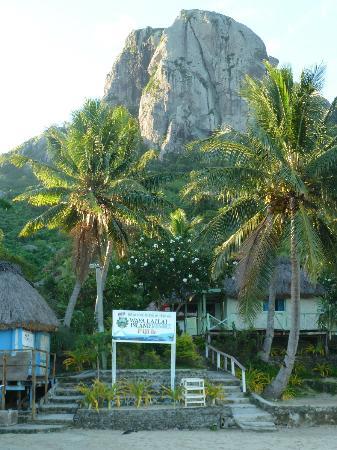 Wayalailai Ecohaven Resort: big white rock and resort entrance