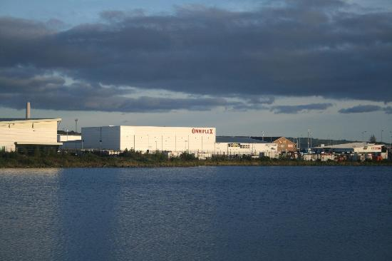 Larne Omniplex: See the red building past it? That's the Curran Court Hotel.