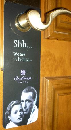 Casablanca Hotel by Library Hotel Collection: Do not disturb sign!