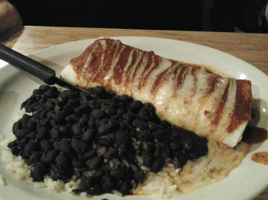 Arlington, OH: Burrito and black beans with rice