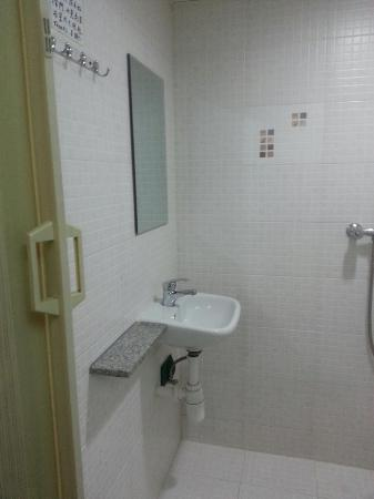 Lee Garden Guest House: The view of the bathroom (visible once you close the room door)