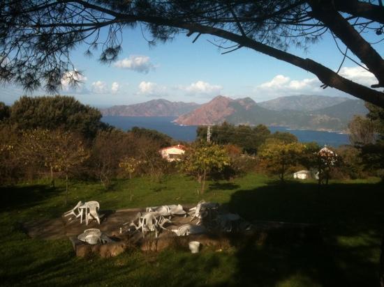 Le Belvedere de Saliccio: Vue sur Golfe de Scandola et partie du Camping pour tentes et Bivouac aménage .