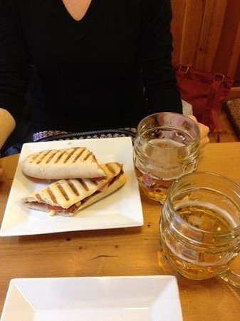 Kafe U ZeIenych Kamen: the panini with beer, rearranged as I'd eaten mine :)