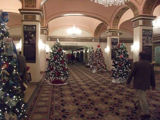 Omni Shoreham Hotel: Great dispay of Christmas trees in reception