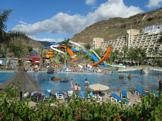 from promenade at bottom of waterpark looking across to hotel - Picture of Paradise Lago Taurito ...