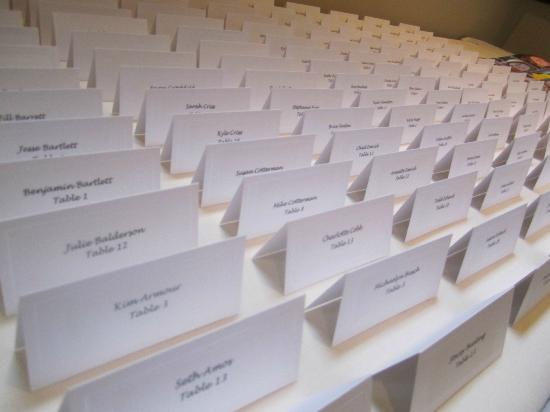 The Blennerhassett Hotel: Place cards for reception