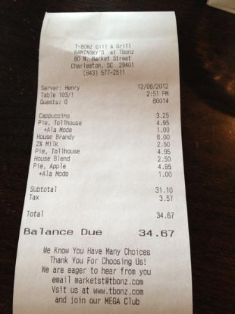 Kaminsky's Most Excellent Cafe : the bill