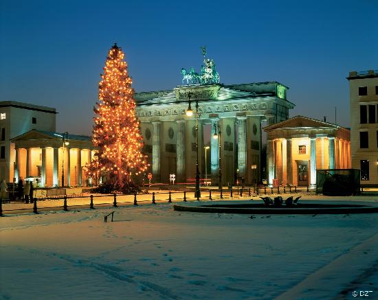 Alemania: Berlin: Christmas tree at the Brandenburg Gate