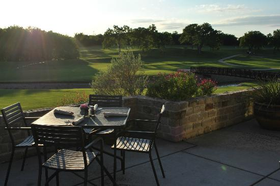 Euless, TX: Patio at Raven's Grille overlooking the 18th fairway.