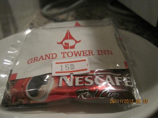 Grand Tower Inn Rama VI: Tea coffee that was chargeable at 15THB