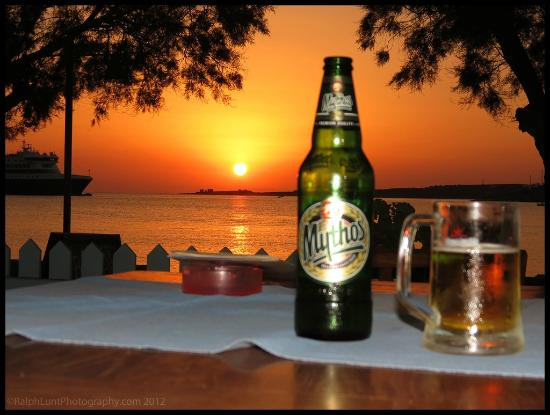 Mythos and Sunset at the Hotel Paros cafe