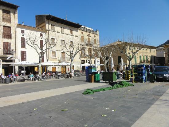 The main square in Pollenca & Hotel Juma