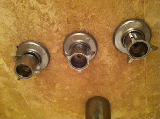 ‪ستارليت هوتل: Starlite Hotel Miami room 404 missing caps on shower knobs.