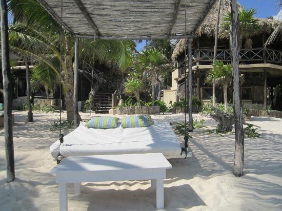 lit suspendu sur la plage de l 39 h tel picture of luv. Black Bedroom Furniture Sets. Home Design Ideas