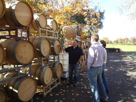 Wine Country Inn & Cottages: Marty showing the oak barrels