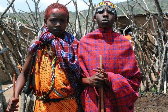 Maji Moto Maasai Cultural Camp: Two of the boys in the age cohort