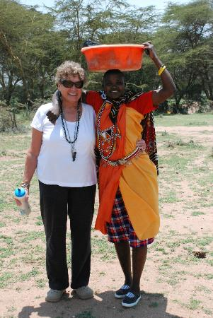 Maji Moto Maasai Cultural Camp: My partner with the young woman who washed our laundry